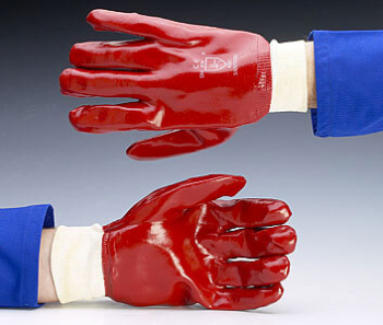 PVC Fully Coated Knit Wrist Red Gloves