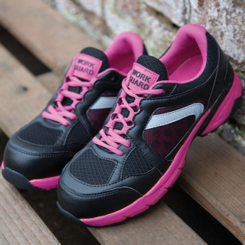 Work-Guard Women's Black/Pink Safety Trainers