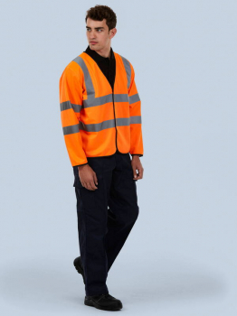 Uneek Long Sleeve Safety Hi-Vis Waistcoat