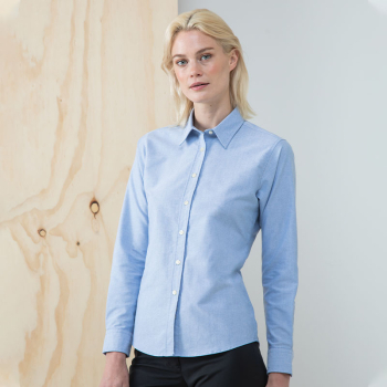 Henbury Classic Oxford Long Sleeve Blouse