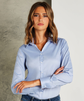 Kustom Kit Stretch Oxford Tailored Long Sleeve Blouse